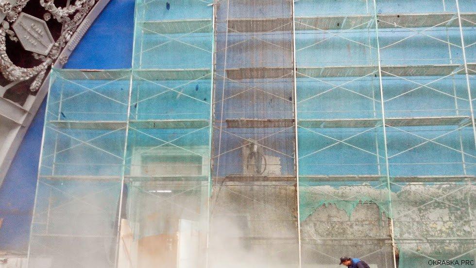 Пескоструйная очистка стен павильона Космос ВДНХ