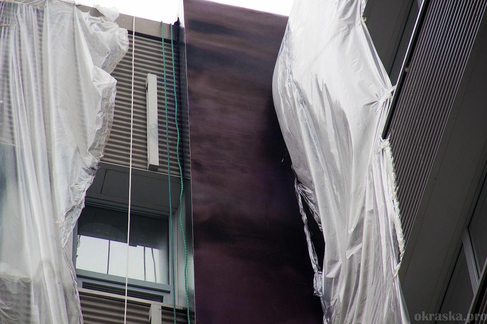 Окраска перламутровым металликом фасадного козырька